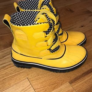 Sorel Tivoli yellow duck rain boots 7 leather